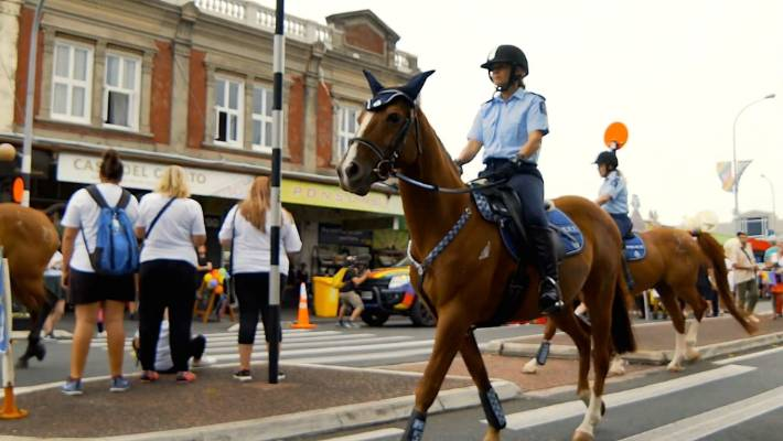 The police are on the horse chariot in the 2018 Auckland Pride parade.