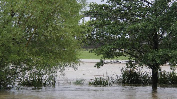 The rising water in the Arthur Strang Reserve in Balcluth.