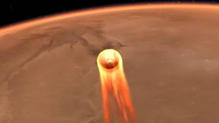 A rendering of the In Sight streaking through Mars&#x27 atmosphere