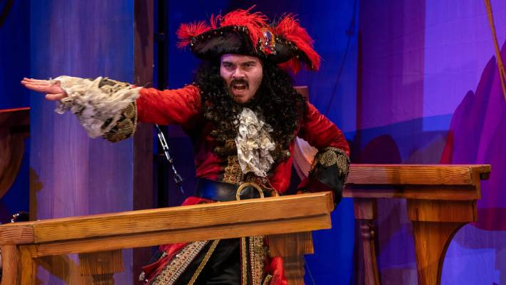 6b8e6fa3f81 Connor Crawford is side-splitting as actor Chris playing Captain Hook in  the Wellington performance