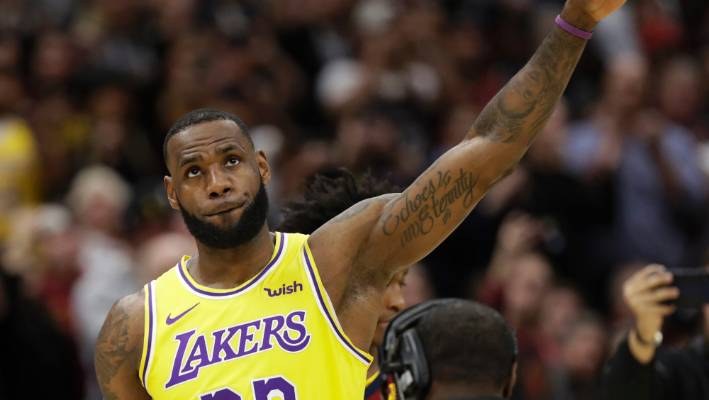 reputable site 15631 39647 Los Angeles Lakers  LeBron James acknowledges the Cleveland fans during a  video tribute.