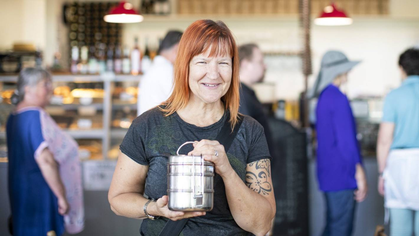 Nelson woman Tamara Cartwright takes her own stainless steel lunchbox container when she buys food from cafes for lunch.