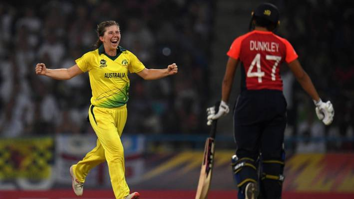 Australian legsinner Georgia Wareham is all smiles after removing England's Sophia Dunkley in the women's T20 World Cup final in Antigua