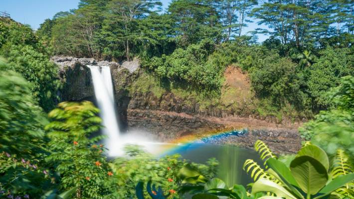 At around 10.30 in the morning, Rainbow Falls on The Big Island of Hawai'i puts on a spectacular display.