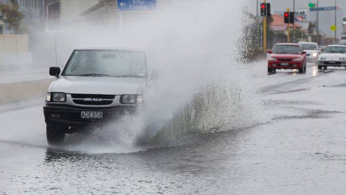 Flooding on the Petone Esplanade in 2016.