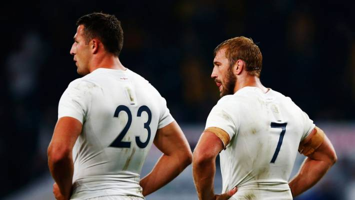 Burgess and former England captain Chris Robshaw after their World Cup campaign ended with defeat against the Wallabies.