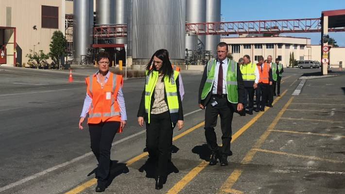 Prime Minister Jacinda Ardern visits Westland Milk Products, which will receive a $9.9 million loan as part of a $140 Provincial Growth Fund package announcement for the West Coast.