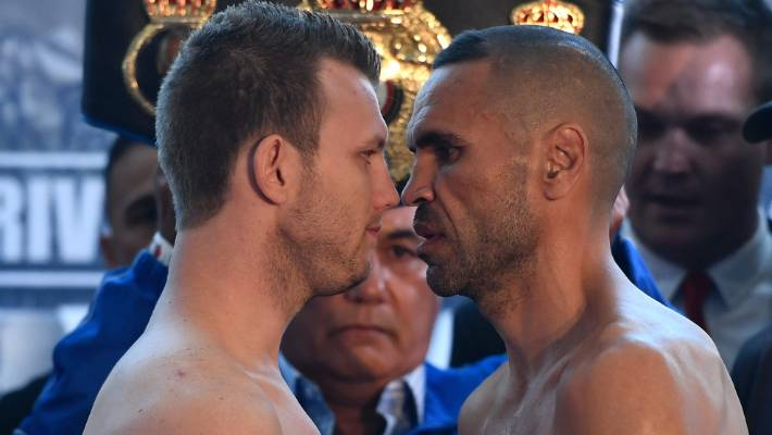 Jeff Horn and Anthony Mundine will face before the middle class fight Friday at Suncorp Stadium.
