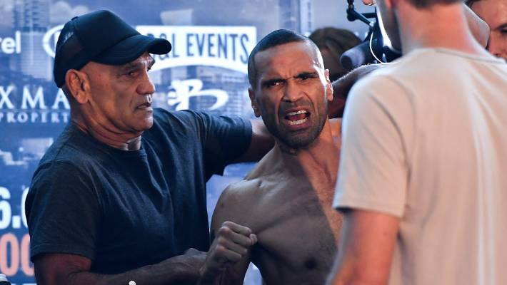 """Anthony Mundine must be arrested after getting physical with Jeff Horn and vowing to """"eat it""""."""