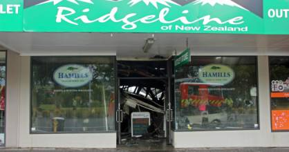 The rooves of the Hamills Taupo retail store and Taupo Sushi collapsed during the town centre fire, making ...