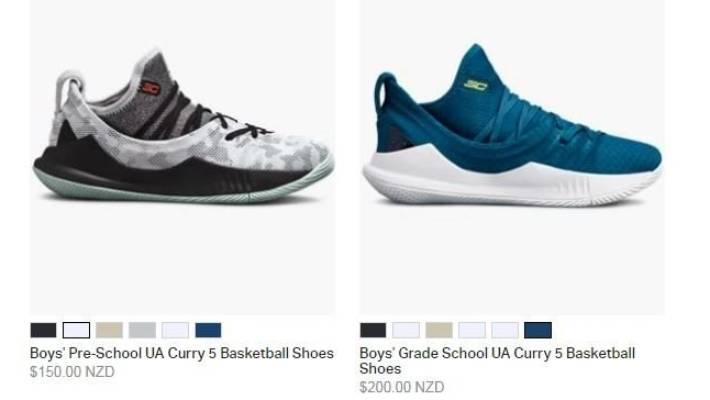 Step Curry's Under Armour shoes on the company's NZ website are labelled for boys