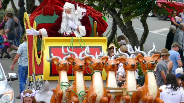 Santa visits Invercargill with his reindeer during the Southland Christmas Parade