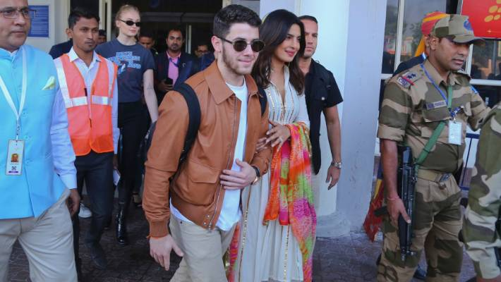 Priyanka Chopra and Nick Jonas arrive at the airport in Jodhpur last week