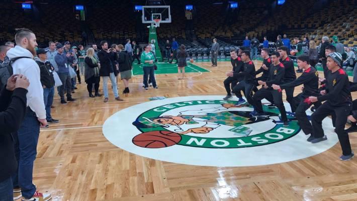 Team captain Daniel Dobson led a haka for the Hamilton Boys' High School junior premier basketball team on Boston Celtics home court.
