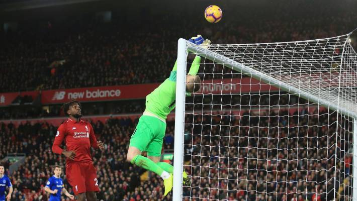 Everton goalkeeper Jordan Pickford makes the initial injury time save though the bounce of the ball would fall for Liverpool to score the winner