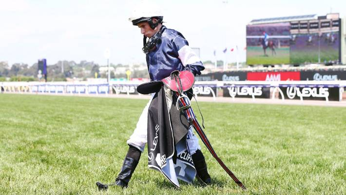 Jockey Ryan Moore after his mount The Cliffsofmoher  broke down in the Melbourne Cup.