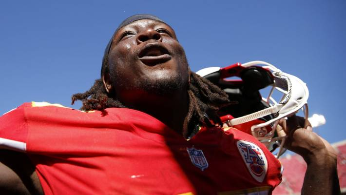 Kareem Hunt celebrates on the sidelines after a victory in the game against the San Francisco 49ers in September