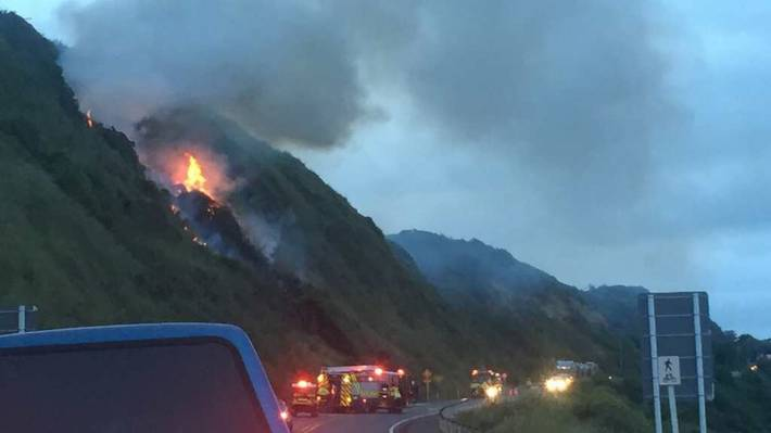 A fire on the Pukerua Bay side of the Paekakariki Hill has closed State Highway 1 in both directions. A witness said five fire and emergency engines were in attendance.