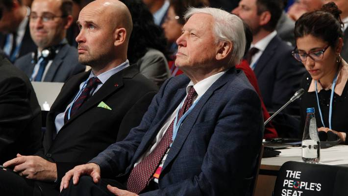 Natural historian Sir David Attenborough listens to speeches during the opening of COP24 UN Climate Change Conference 2018 in Katowice, Poland.