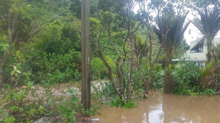 Flooding along the road in Glenesk Valley, Piha.