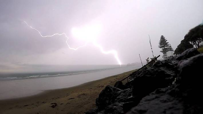 Lightning struck the water by Red Beach on Auckland's North Shore