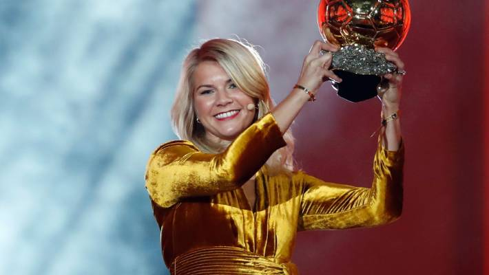 Olympique Lyonnais&#x27 Ada Hegerberg celebrates with the Women's Ballon d'Or award shortly before she was asked to twerk