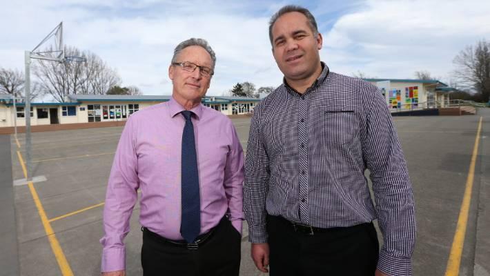 Marlborough Boys' College principal Wayne Hegarty, left, with Bohally Intermediate principal Shane Campbell.