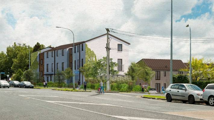 An architect's impression of Cohaus, a 20-unit apartment block being built and owned by its residents in Grey Lynn.