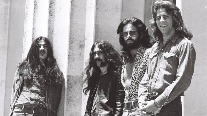 Ticket outside Auckland Museum, 1972. From left: Paul Woolwright, Eddie Hansen, Trevor Tombleson, Ricky Ball.