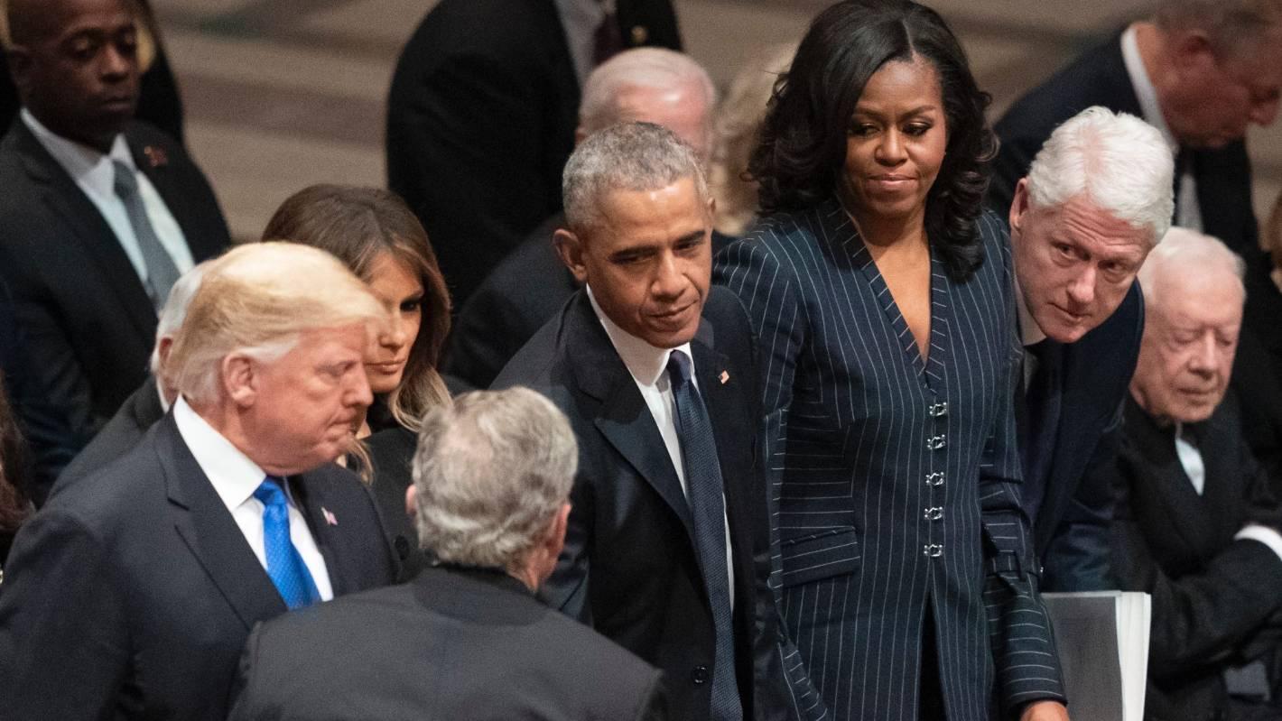 trump seated among his enemies brings tension to george h w bush s rh stuff co nz