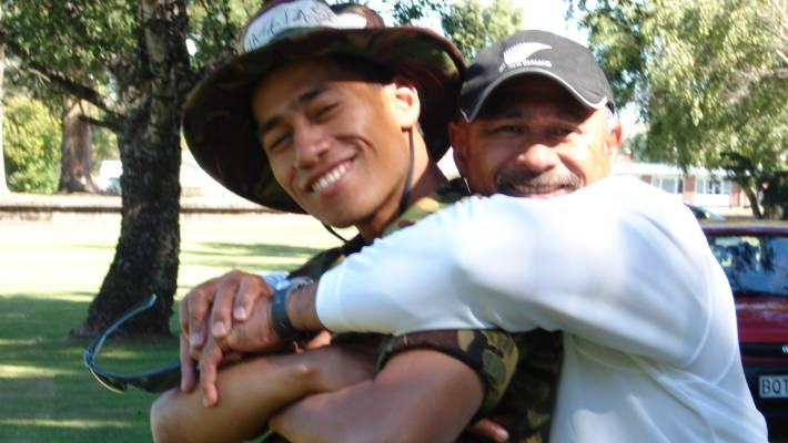 Iafeta Matalasi in happier times with his son Sio at Waiouru in 2009 where he was an army trainee. Sio Matalasi was murdered by gang associates in Petone.
