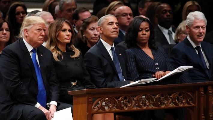 The current and former US presidents attend the state funeral state funeral for  George HW Bush.