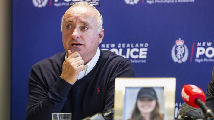 David Millane, Grace's father, speaks to media at Auckland Central Police Station on Friday.