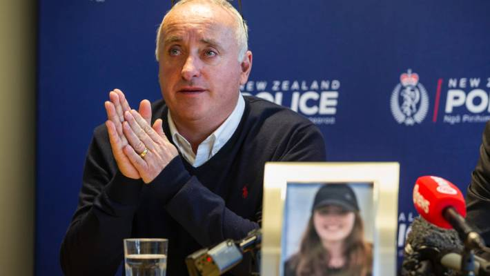 Grace Millane's father David Millane spoke to media at Auckland Central Police Station on Friday.