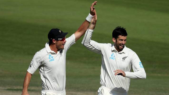 Haris Sohail departs and Will Somerville and Tim Southee start the celebrations.