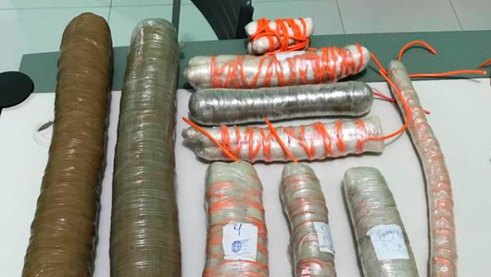 Explosives seized by police after the shootout with bank robbers