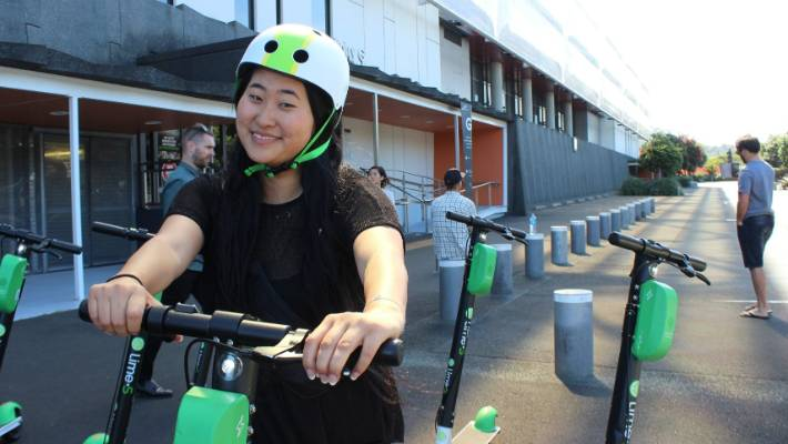 Jess Suo rode a Lime e-scooter to get to the safe scooting summit for riders.