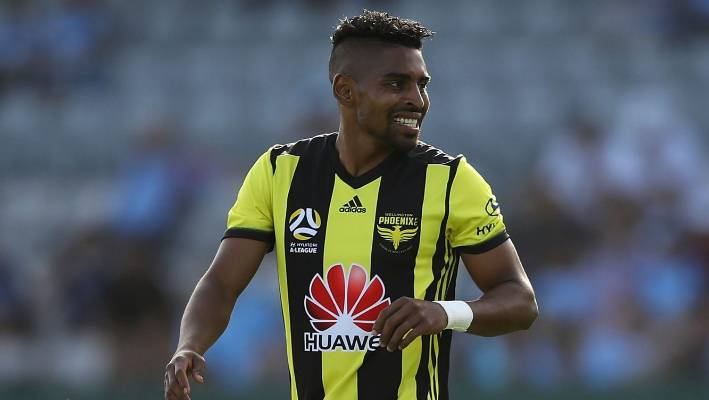 Wellington Phoenix striker Roy Krishna is all smiles on Saturday night.