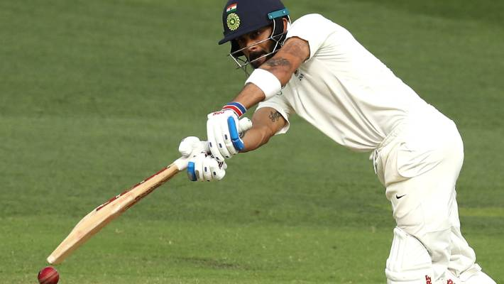 Virat Kohli bats during day three of the first test at Adelaide Oval.