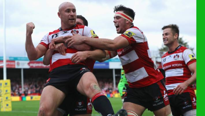 Willi Heinz (L), pictured after scoring for Gloucester in 2017, grabbed a try in a European Champions Cup win over the Exeter Chiefs.