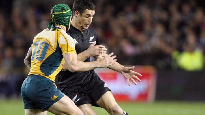 Dan Carter and Matt Giteau - pictured in a 2008 Bledisloe Cup test - will clash again 10 years later in the 2018 Japan Top League final.