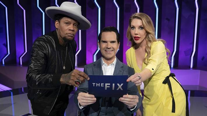 D.L. Hughey, Jimmy Carr and Katherine Ryan attempts to right the world's wrongs in Netflix's The Fix.