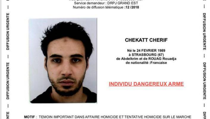 French police shows Cherif Chekatt the suspect in the shooting in Strasbourg