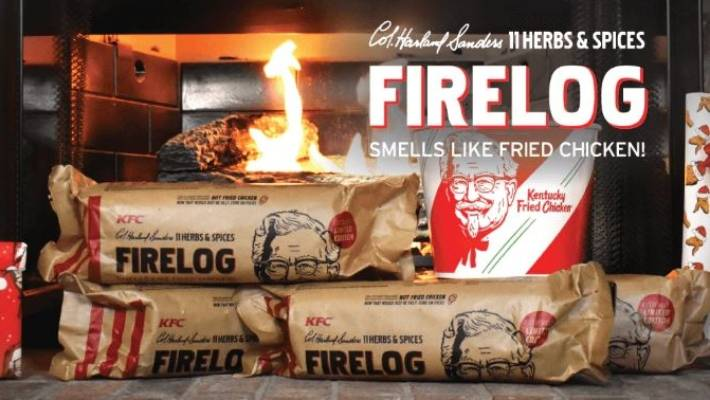 Kentucky Fried Chicken selling '11 Herbs & Spices Firelog'