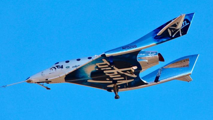 Virgin Galactic reaches space for the first time during its 4th powered flight.