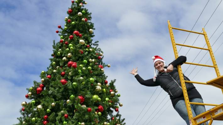 Tanya Colyer Smiles As She Helps To Set Up The Community Christmas Tree In  Riverton On