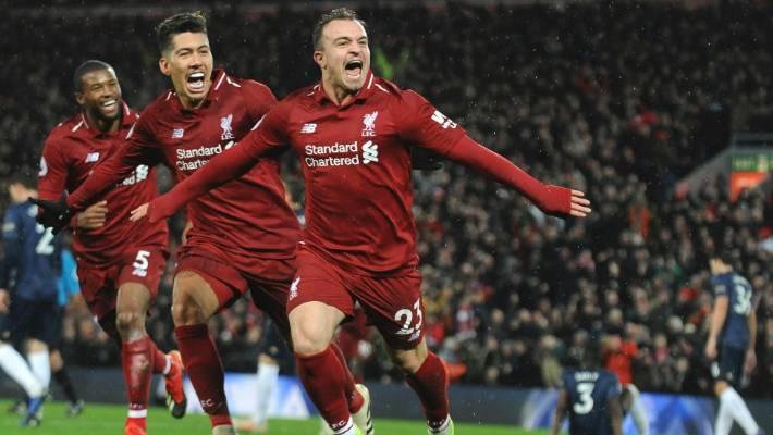 4ef96fd9b Liverpool s Xherdan Shaqiri celebrates his second goal in a 3-1 victory  over Manchester United
