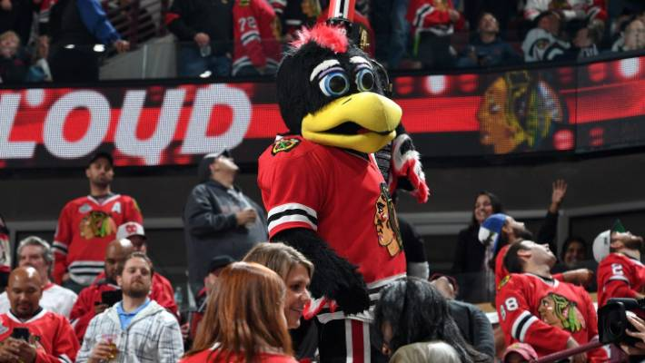 Chicago Blackhawks mascot Tommy Hawk body slams fan in stadium scuffle
