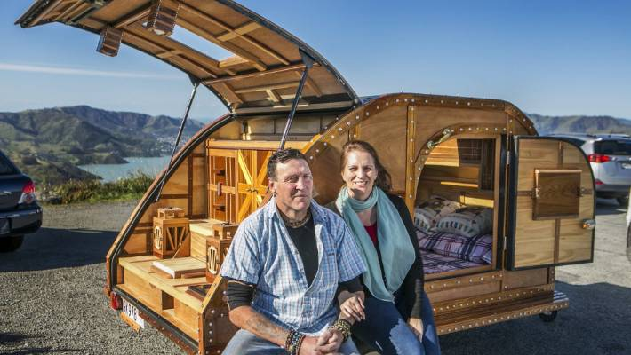 Carlton Pezaro made his homemade teardrop caravan from recycled wood for his wife Sarah.