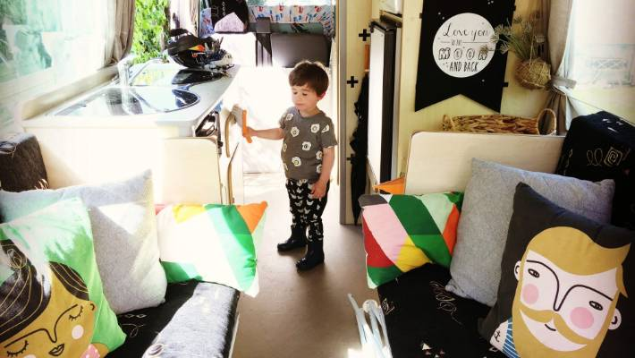 Genevieve Robinson's motorhome has plenty of charm thanks to cute interior details and of course, son Freddy.